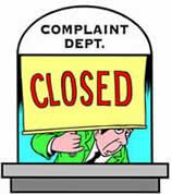 closed complaint department
